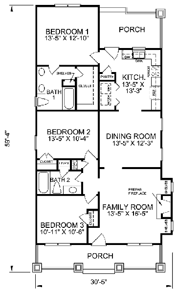 3 Bedrooms, 3 Baths W/ Bonus Room; 2,000 Sq. Ft. House Plans ...